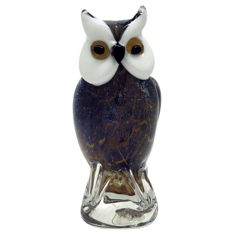 Hand Made Glass Art Figurine - Mysteriours Night Owl