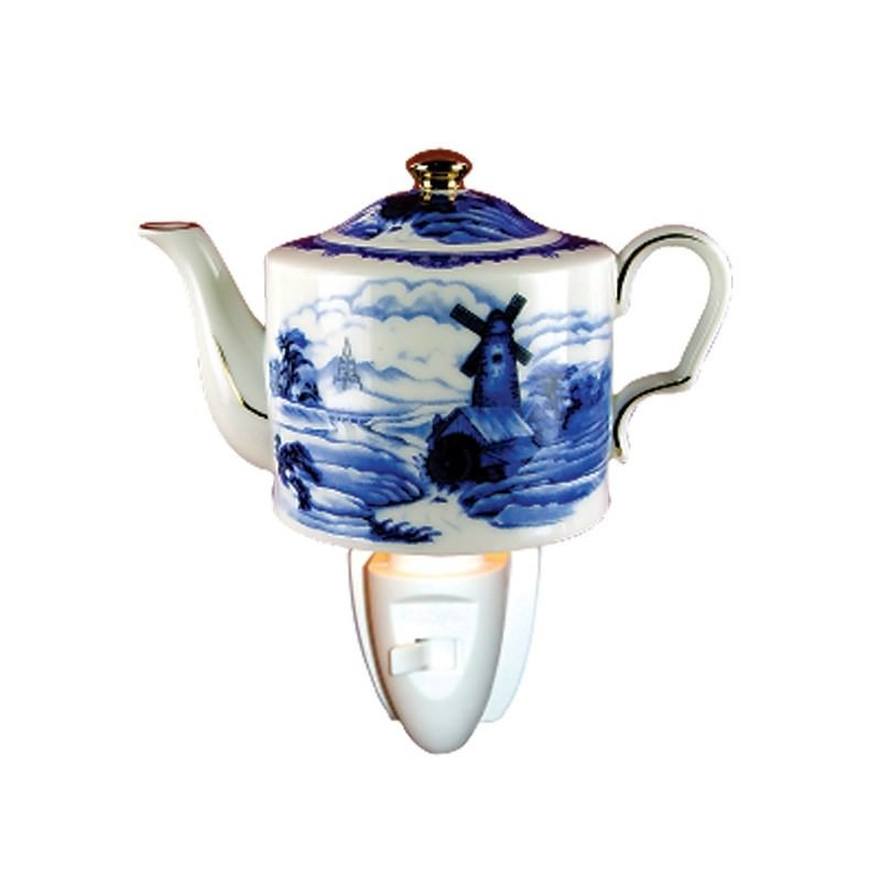 Delft Teapot Porcelain Night Light