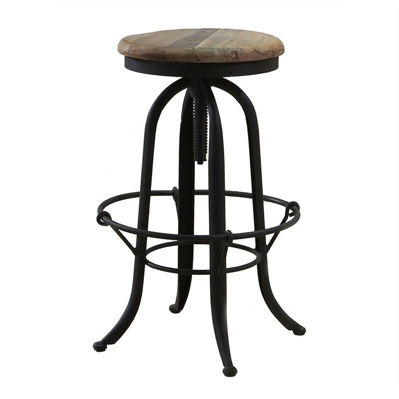 Brick Industrial Metal Bar Stool with Timbe Seat