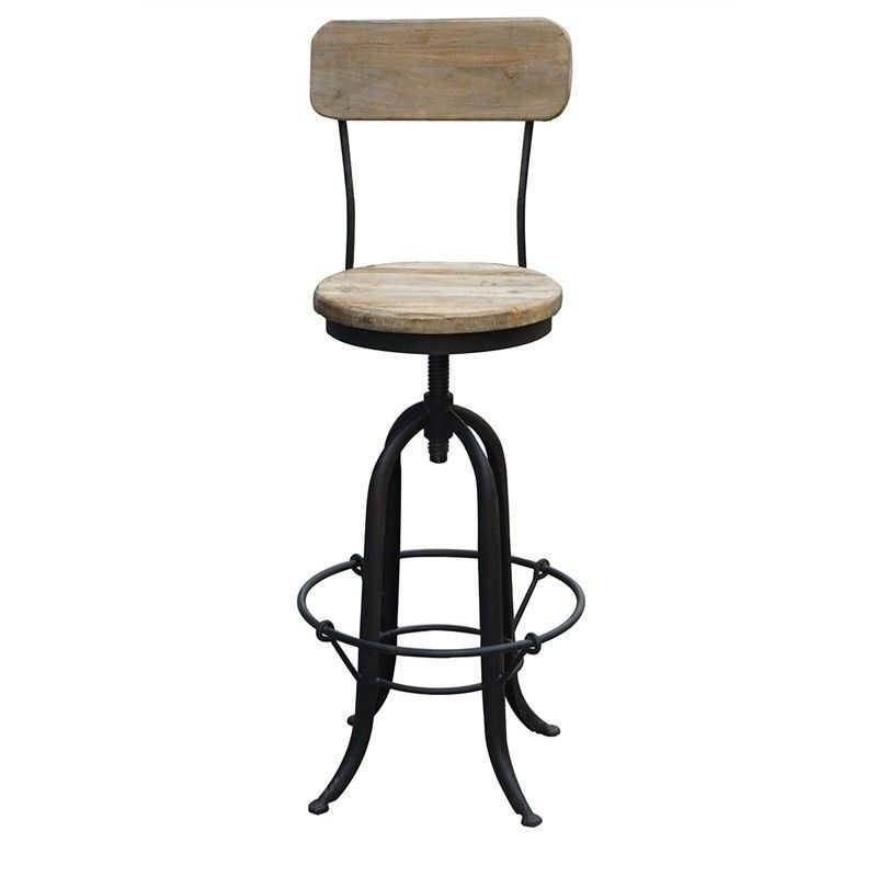 Brick Industrial Metal Bar Chair with Timber Seat