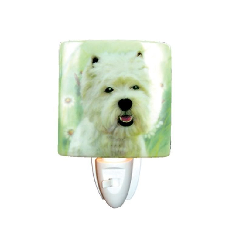 White Scottie Porcelain Night Light