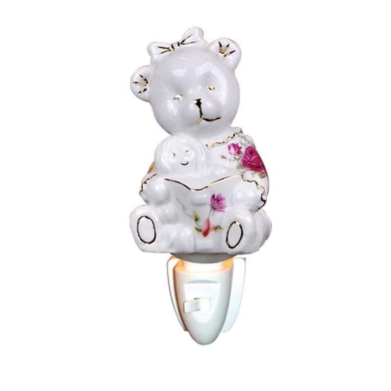 Mama Teddy Bear Porcelain Night Light
