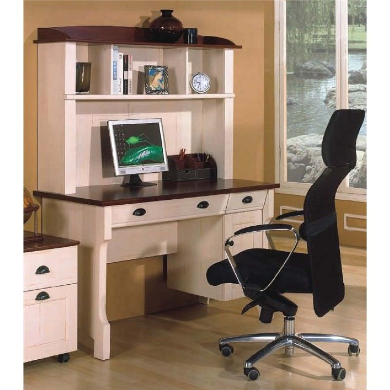 Hawksbury Wooden 120cm Desk with Hutch - Antique White
