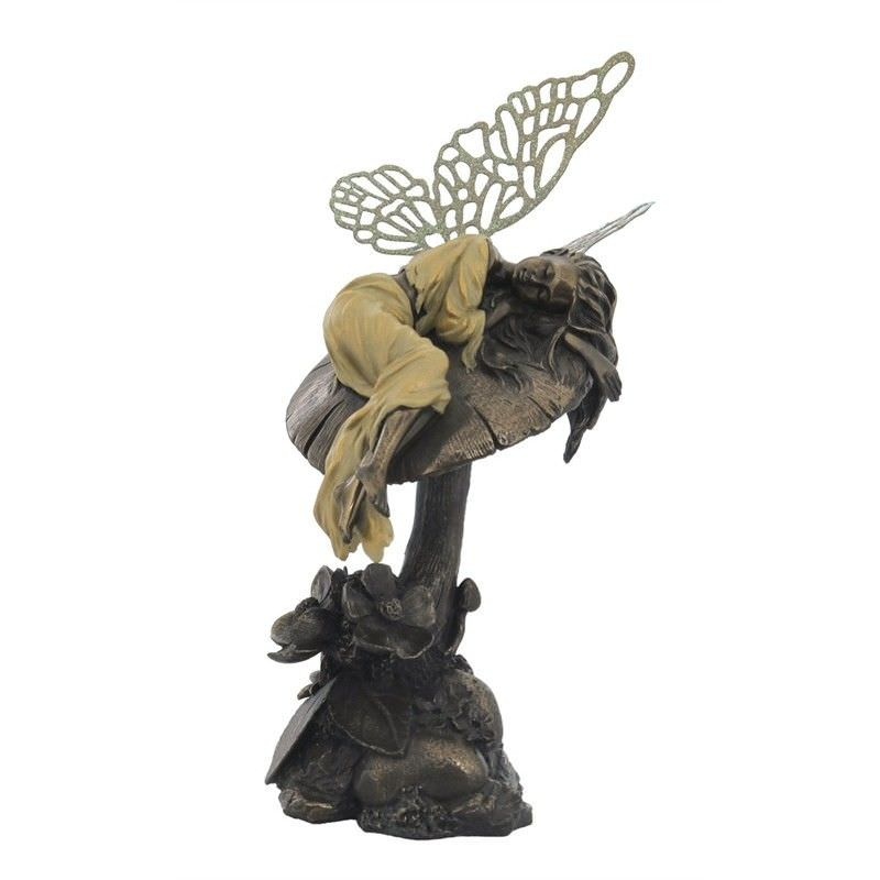 Cast Bronze Little Fairy Figurine, Napping