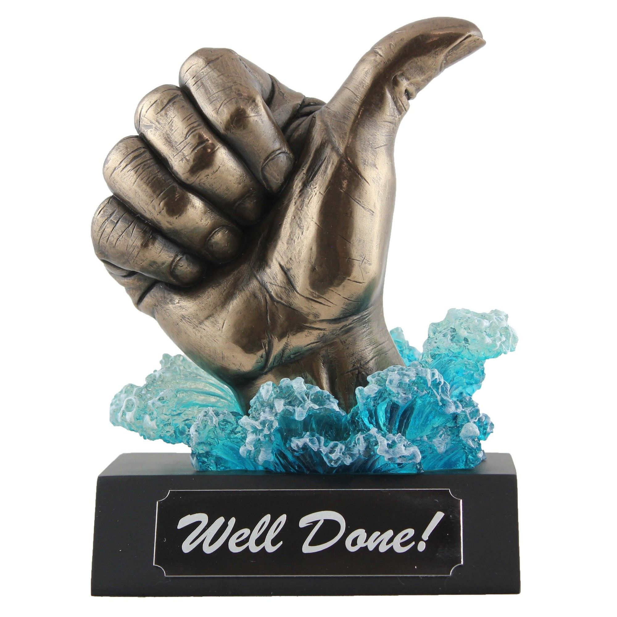 Veronese Cold Cast Bronze Coated Thumb Up Statue, Well Done