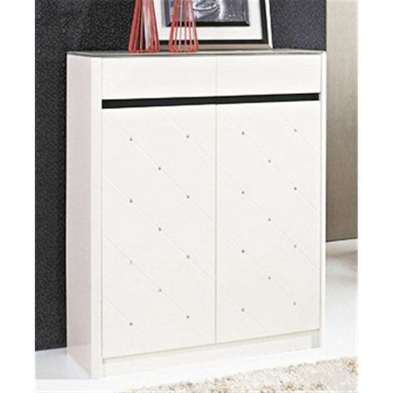 Contemporary White Shoe Cabinet - 76x103x33cm