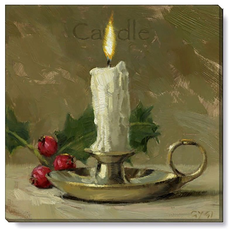 Bayport Stretched Canvas Wall Art Print, Candle, Small