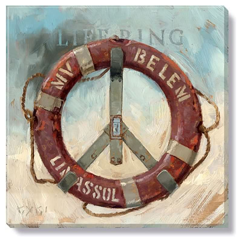 Bayport Stretched Canvas Wall Art Print, Life Ring, Small