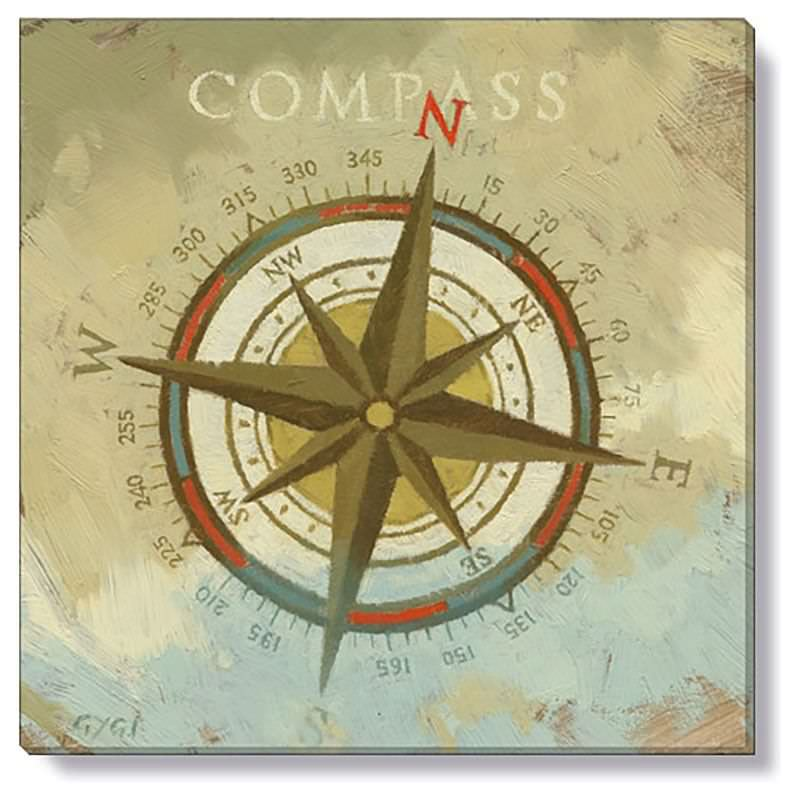Bayport Stretched Canvas Wall Art Print, Compass, Small
