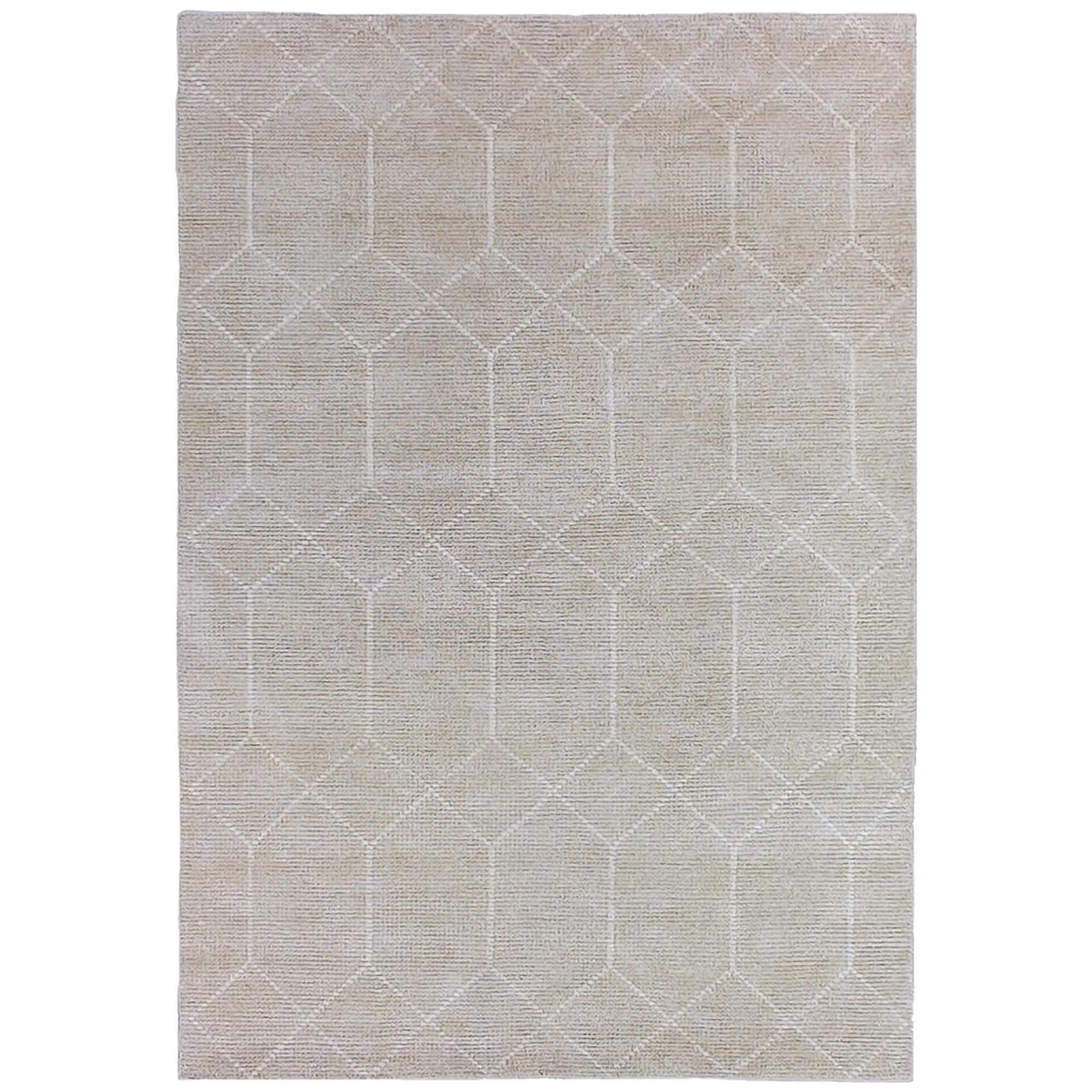 Geometrics Hand Knotted Wool Rug, 300x400cm, Silvery Beige