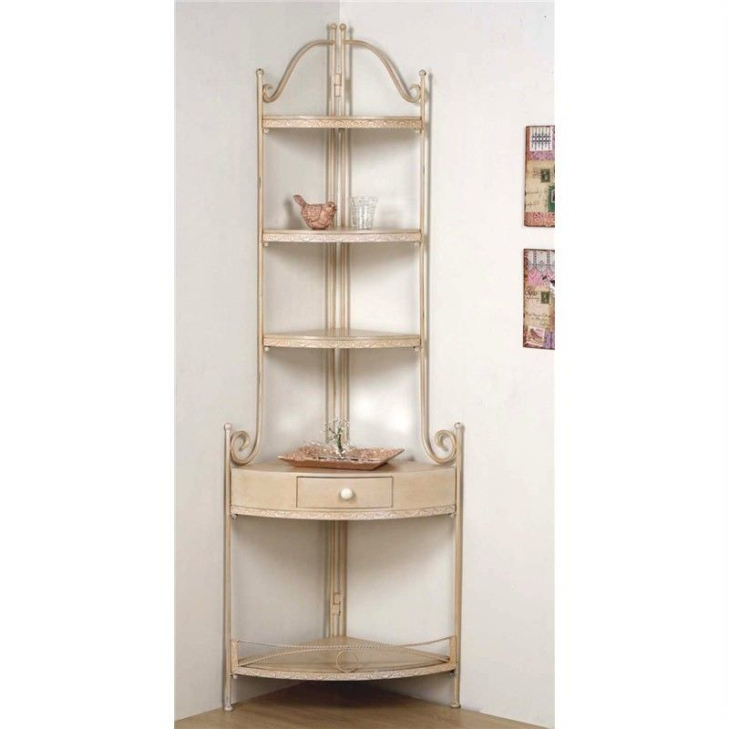 French Cream Wood and Metal Coner Shelf