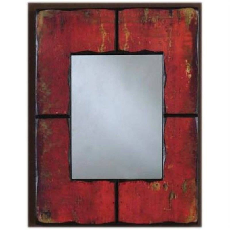 Wood Wall Mirror -Red
