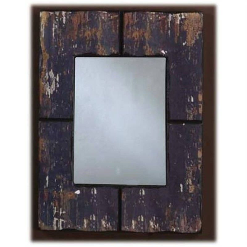 Shabby Chic Wood Wall Hanging Black Mirror
