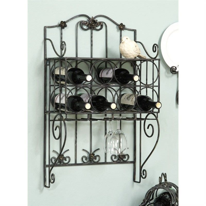 Vintage Black Metal Wall Wine Rack with Bottle and Glass Holder