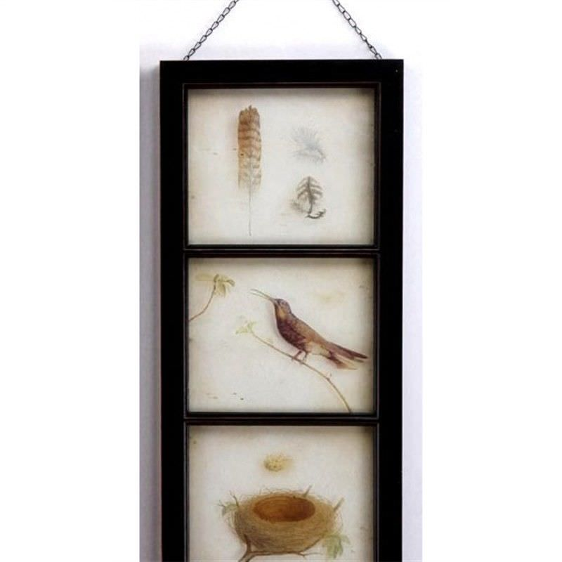 Wood and Glass Wall Plaque -Honeyeater