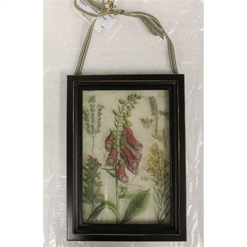Wood and Glass Wall Plaque -Flowers