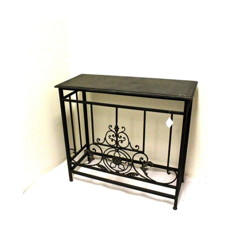 French Black Metal Hall Table