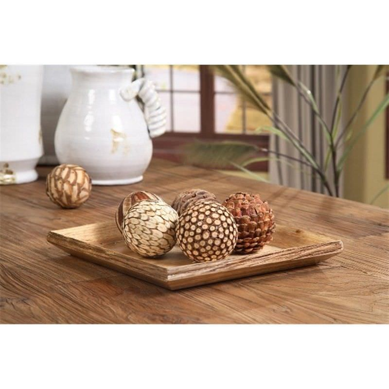 Wood Rustic Edge Square Tray