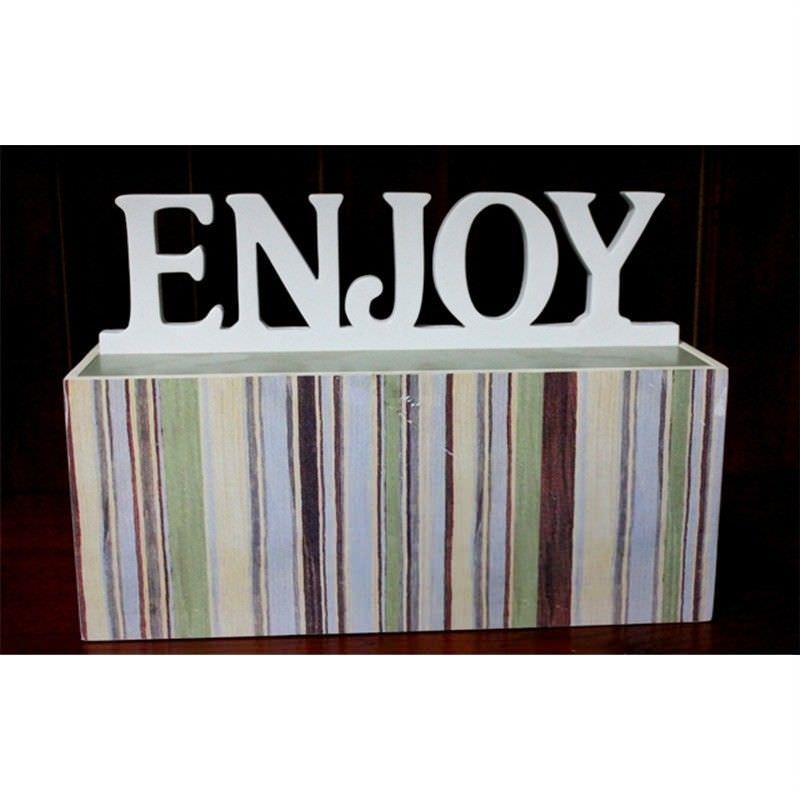 "Wood Box with White ""Enjoy"" Wording Lid"