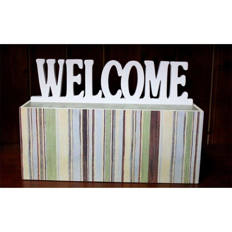"""Wood Box with White """"Welcome"""" Wording Lid"""