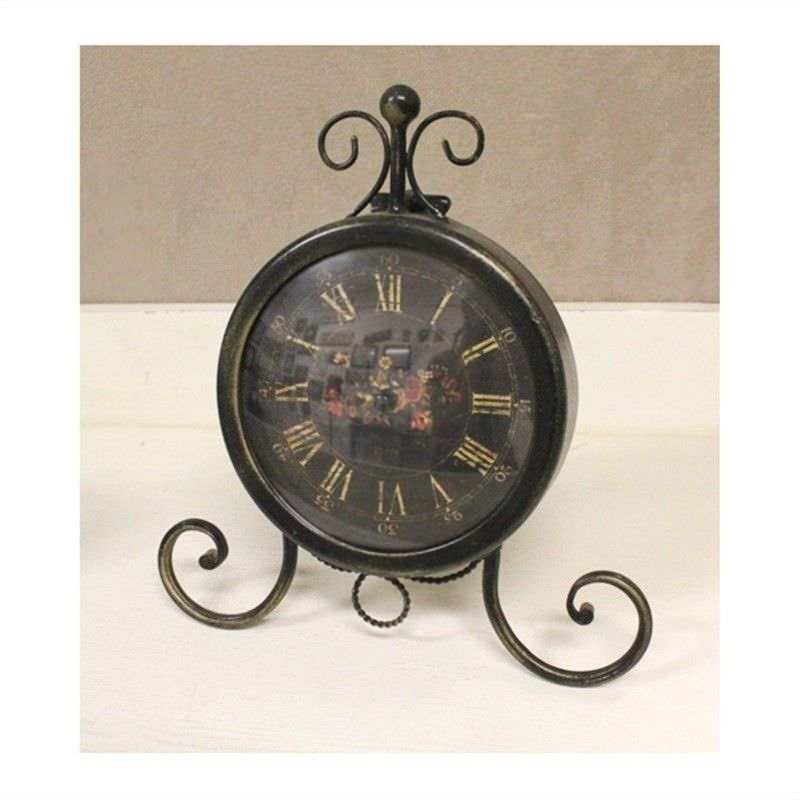 Black Metal French Country Standing Clock