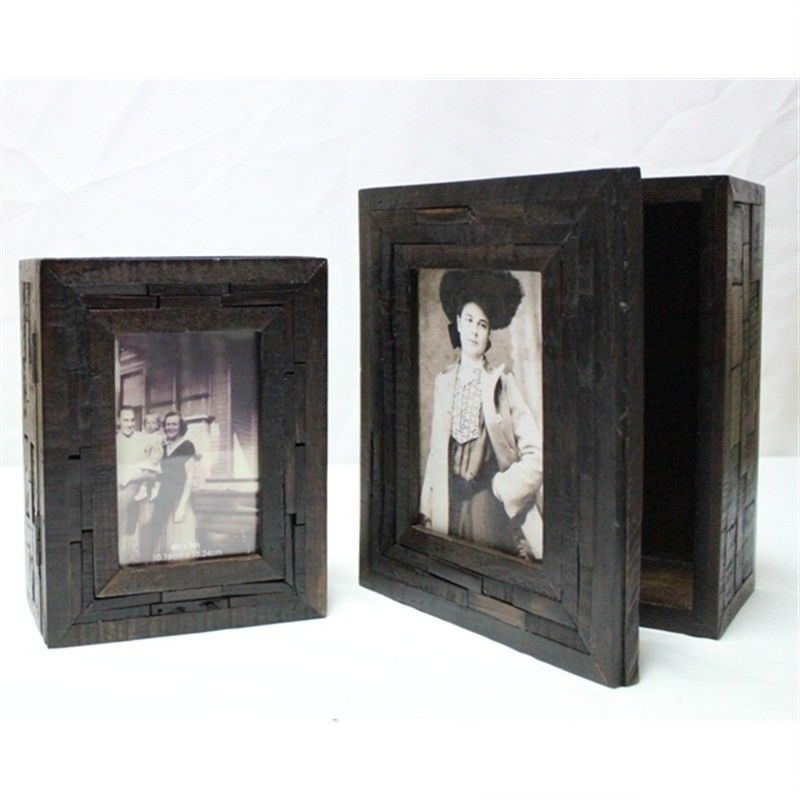 Brown Wood Photo Frame Box Set of 2