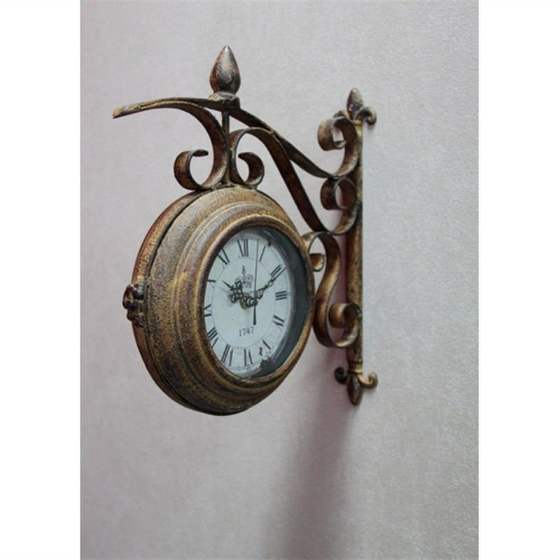 Metal Brown Wall Corner 2 Sided Face Clock