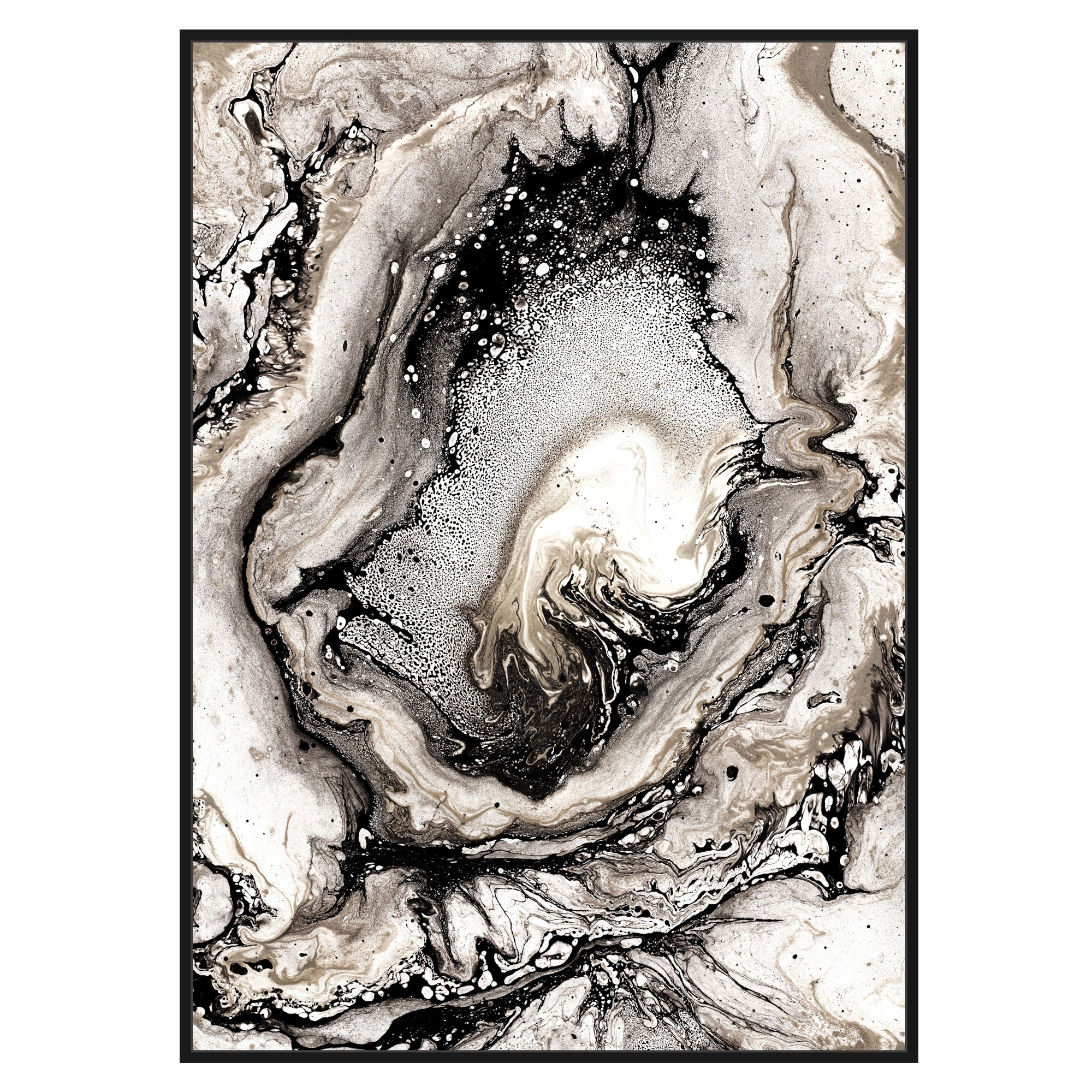 Veined Neutral Tone Marble Framed Canvas Wall Art Print, 120cm
