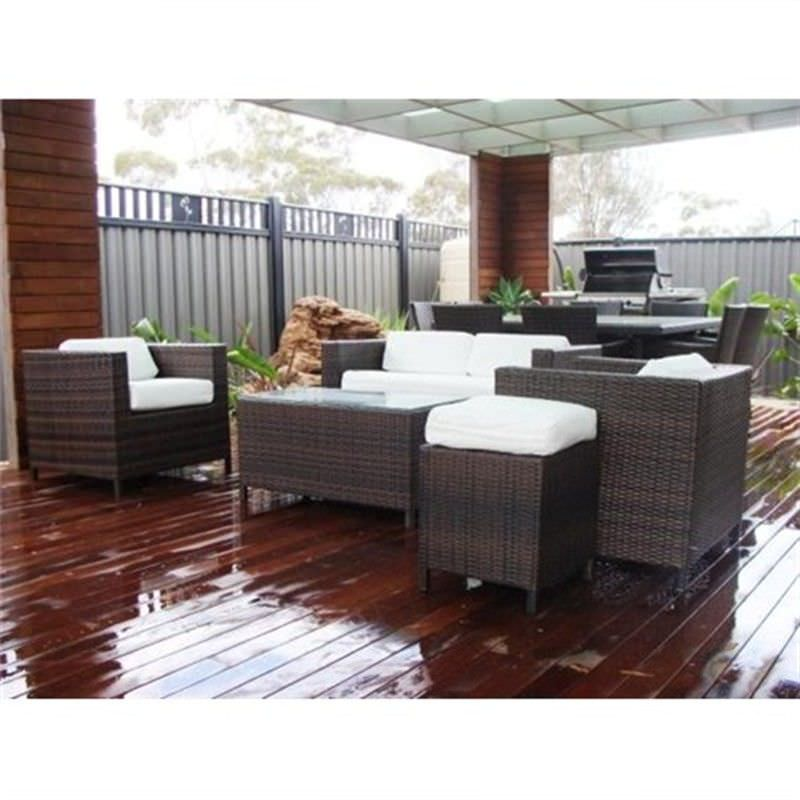 HAMILTON II, 5 Seater Wicker Sofa Setting Brown UV Treated Weather Proff