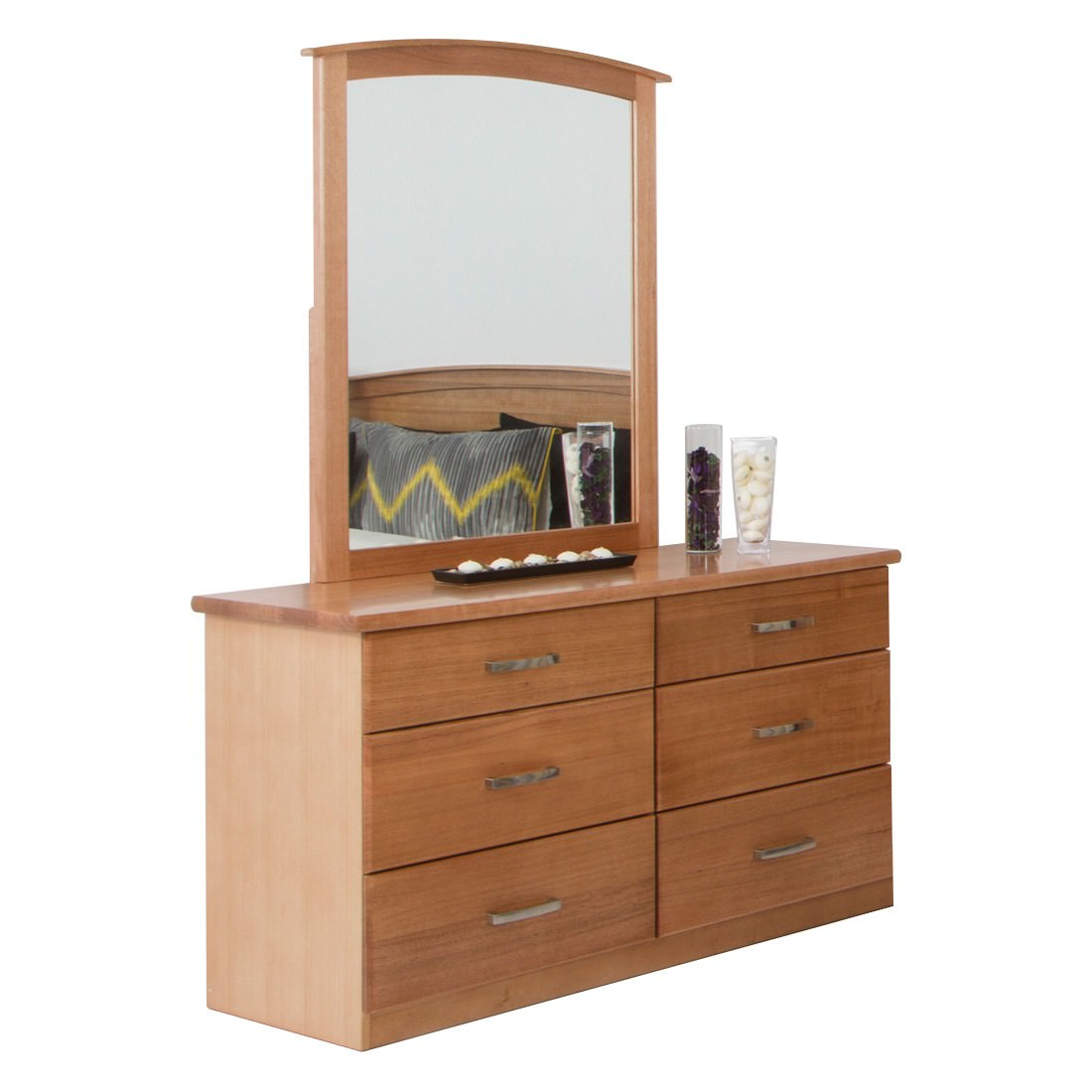 Hampton Tasmanian Oak Timber 6 Drawer Dresser with Mirror