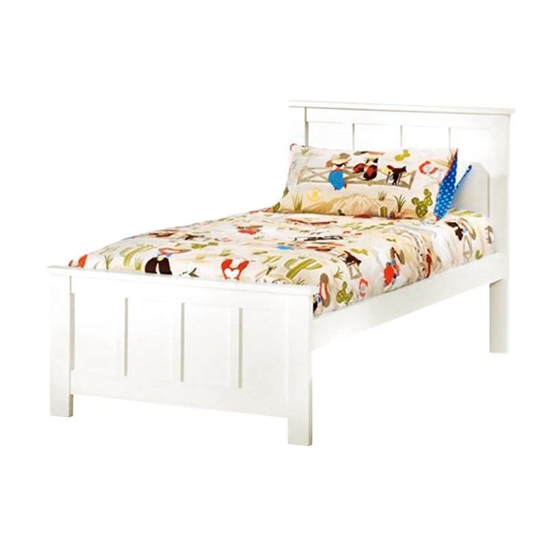 Hannah Solid New Zealand Pine Timber King Single Bed - White