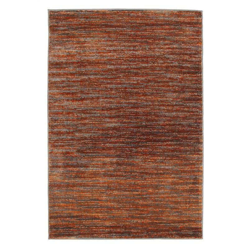 Pandora Stripe Contemporary Rug in Rust/Grey - 330x240cm