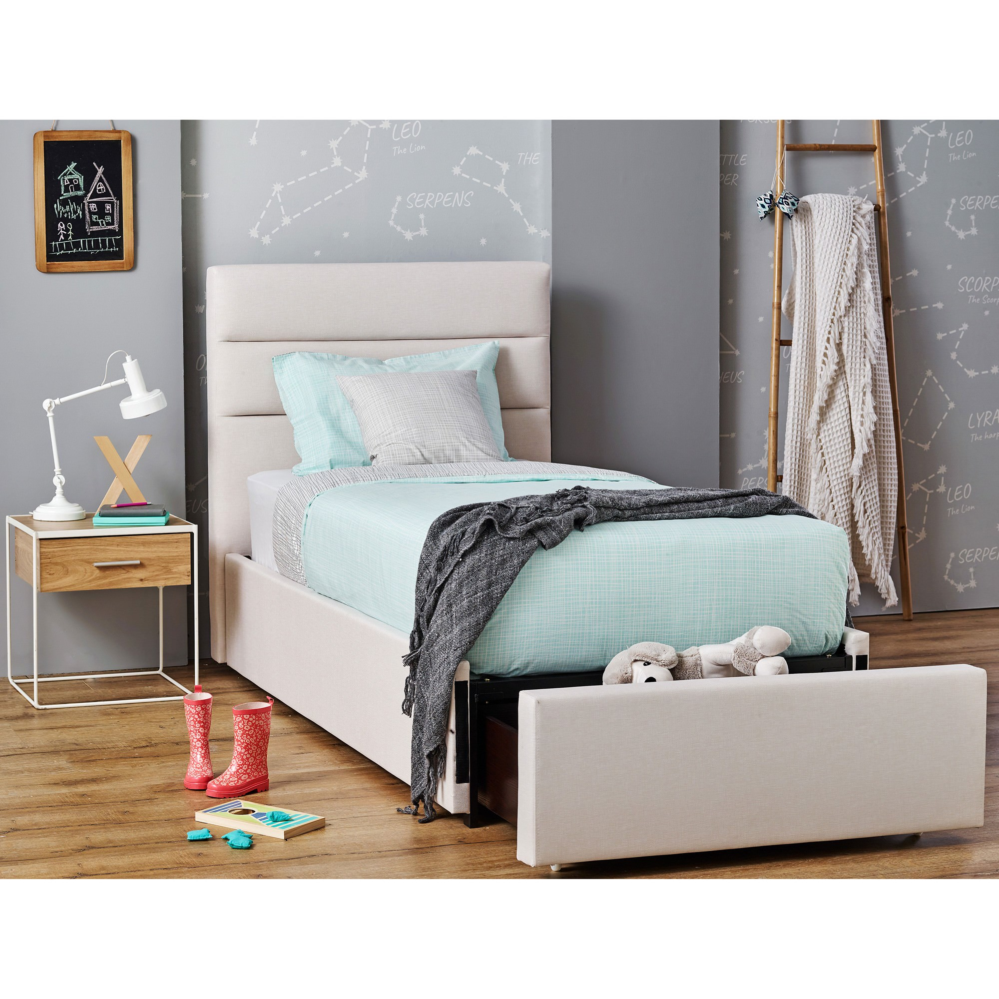 Harvard Fabric Bed with End Drawer, Single