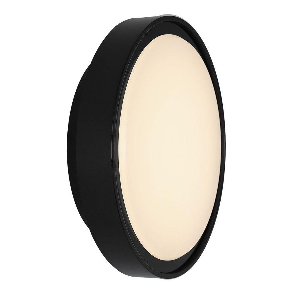 Hayman IP65 Outdoor LED Bunker Light, Large Round, Black