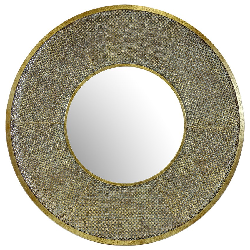 Safi Metal Frame Round Wall Mirror, 100cm, Antique Gold