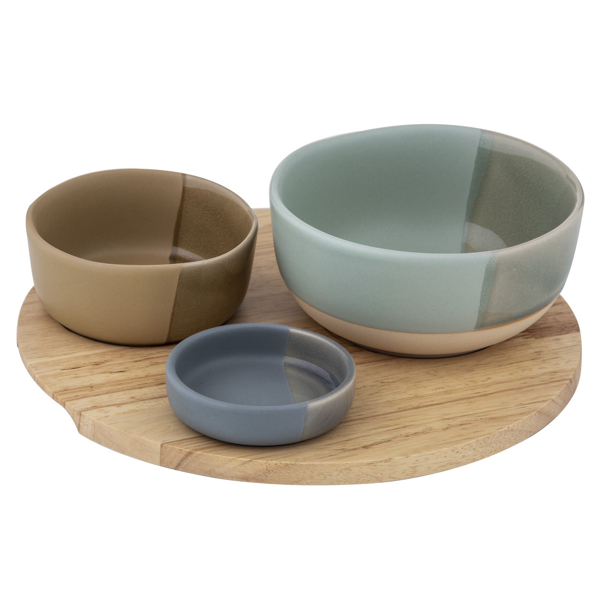 Chameleon 3 Piece Ceramic Bowl Set with Wooden Tray