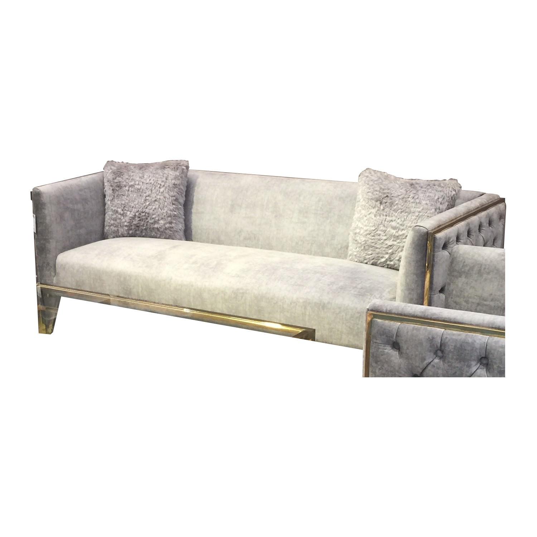 Alice Fabric Sofa, 3 Seater, Grey / Gold