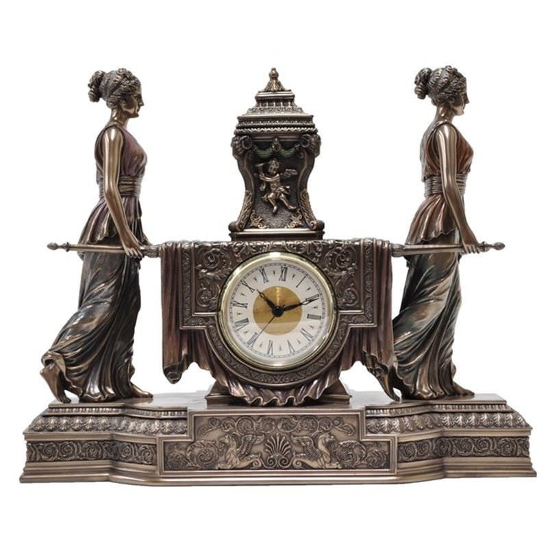 Cast Bronze Girls Carrying Altar Table Clock