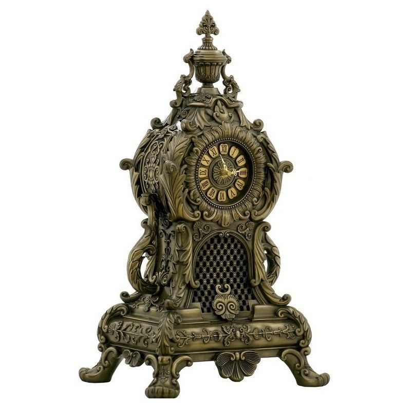 Cast Bronze Baroque Table Clock, Large