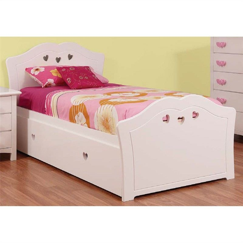 Hearts Wooden Bed with Trundle, Single