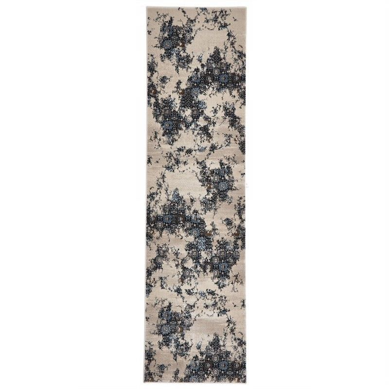 Turkish Made Rembrandt Designer Runner Rug in Ivory Blue - 400x80cm