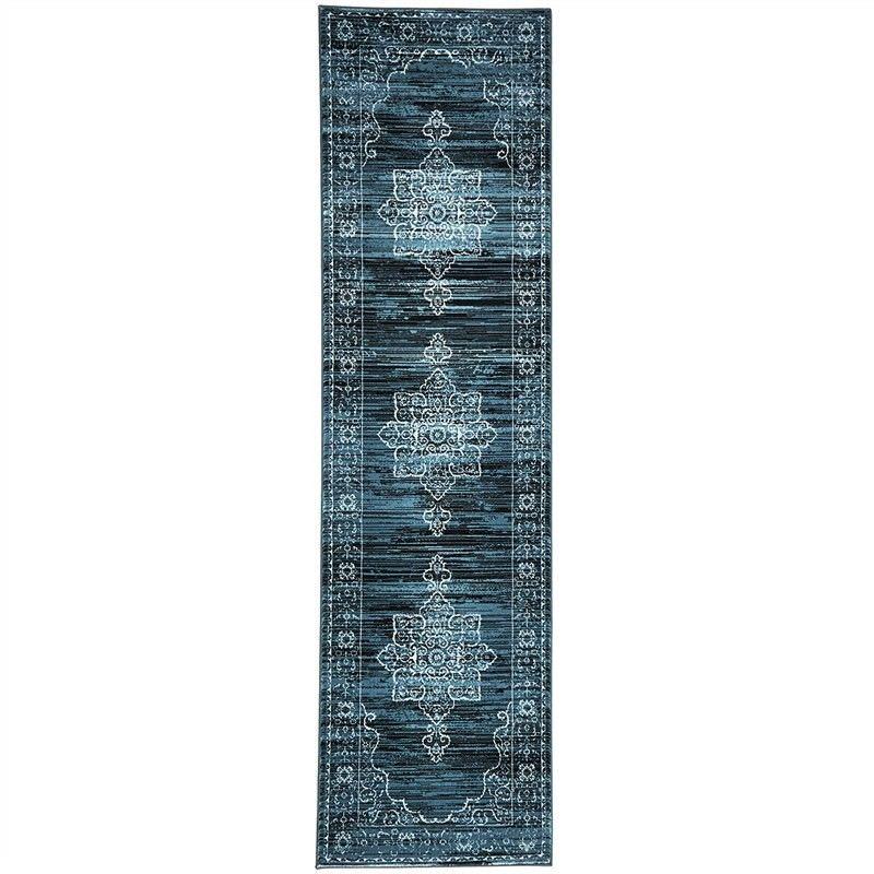 Turkish Made Kings Court Designer Runner Rug in Blue - 400X80cm