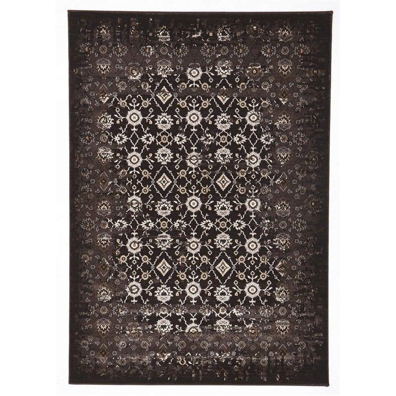 Turkish Made Royal Kashan Designer Rug in Chocolate - 230x160cm