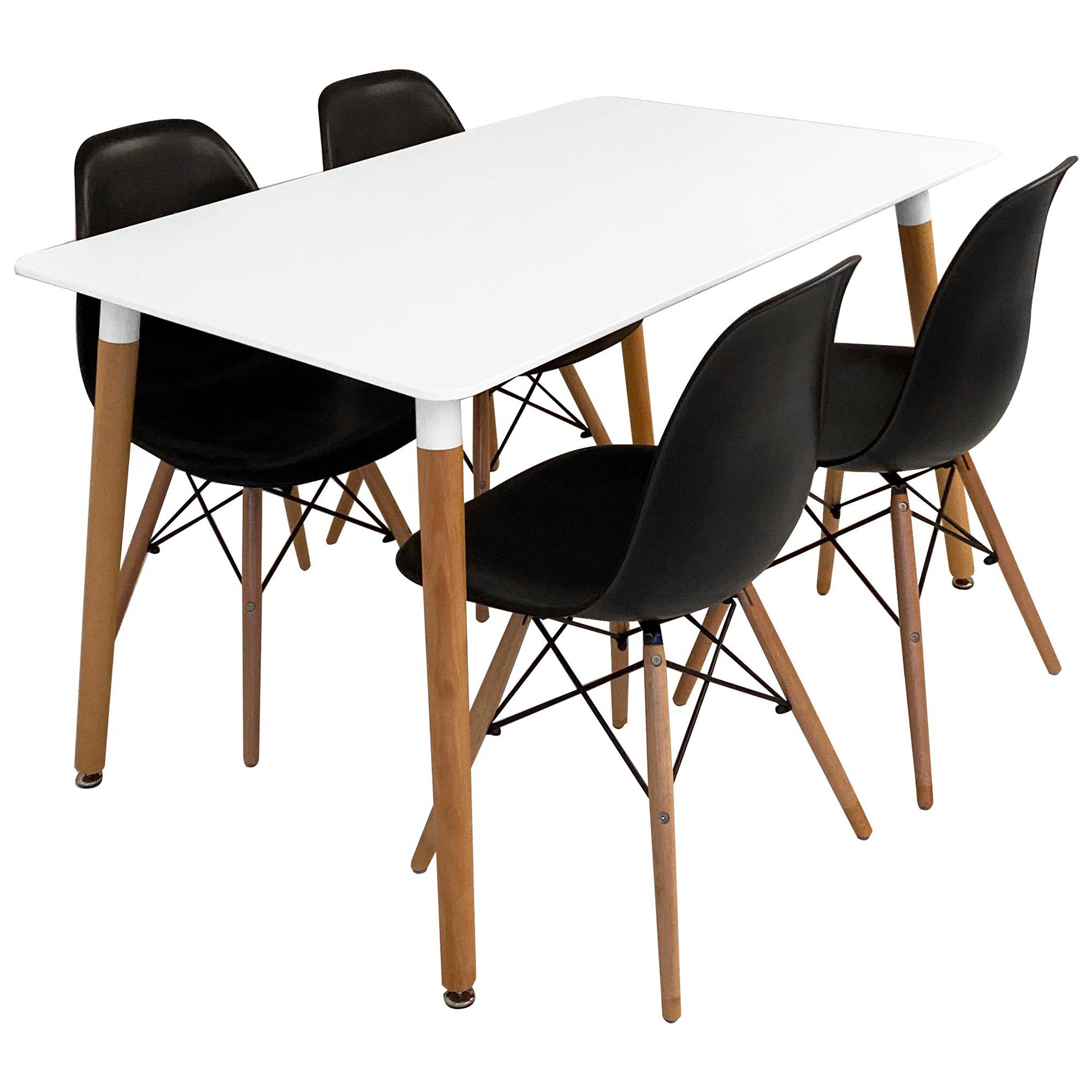 Heme 5 Piece Dining Table Set, 120cm, with Black Paris Chair