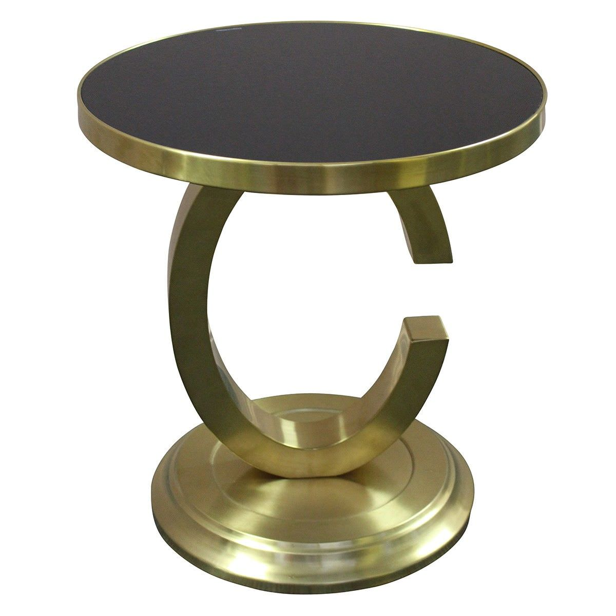 Chanel Glass Top Stainless Steel Side Table Brushed Gold Black - Brushed gold side table