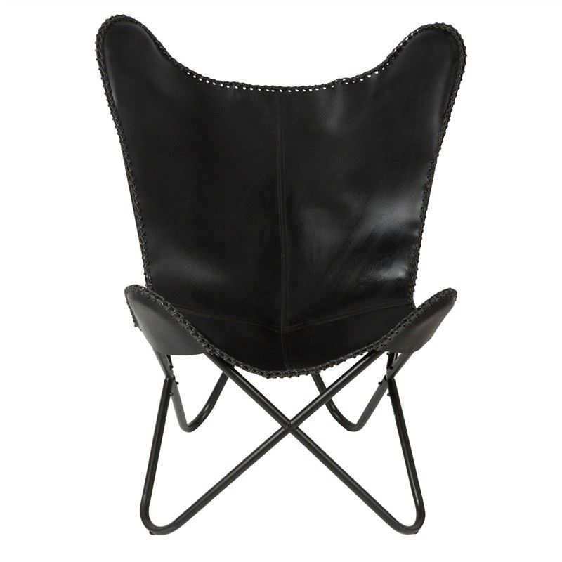 Akemi  Leather & Iron Butterfly Chair, Black