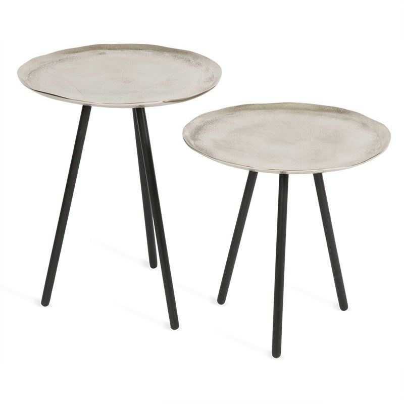 Set of 2 Andsmall Scandi Metal Side Tables - Nickel