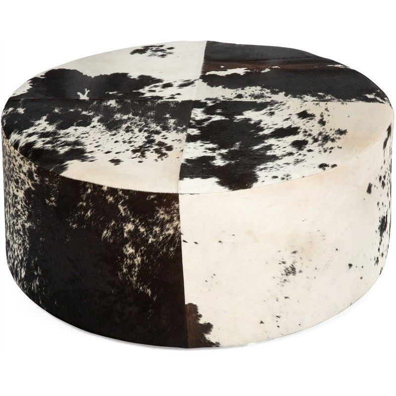 Lorenzen Cow Hide 80cm Round Ottoman - Black/White