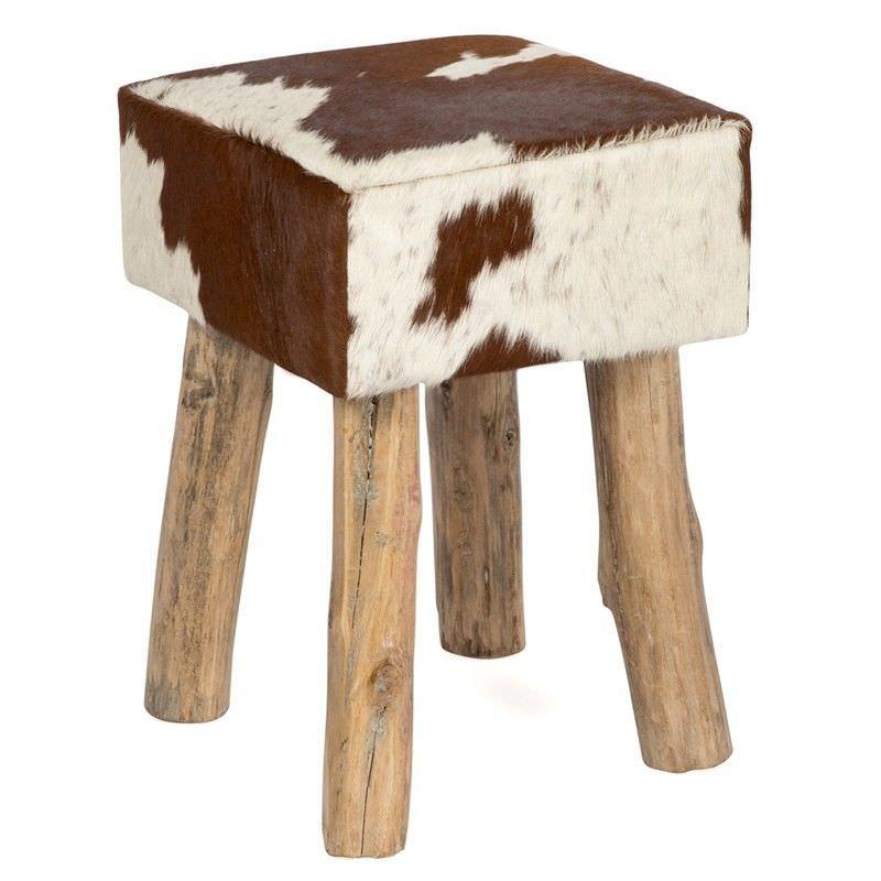 Lorenzen Cow Hide Square Stool,  Tan / White
