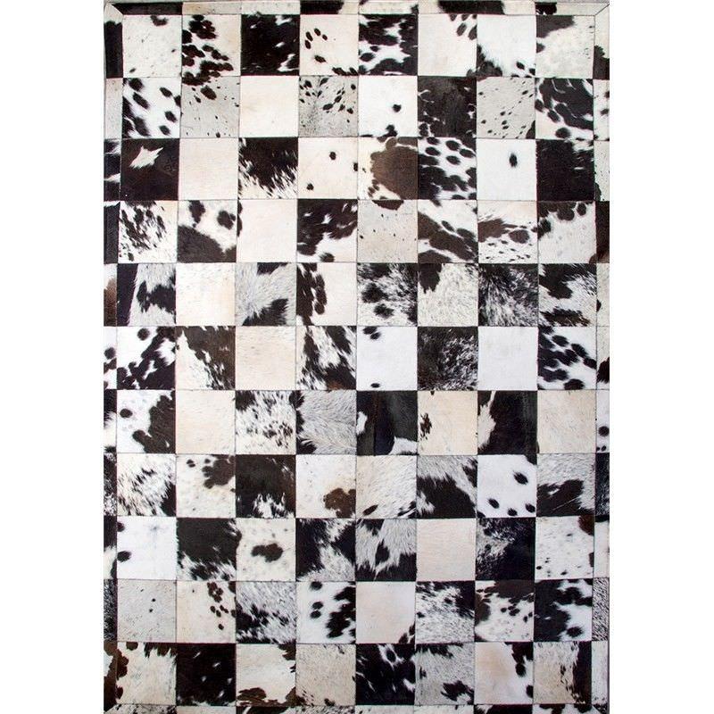 Lorenzen Cow Hide Patchwork Rug, 160x230cm, Black / White